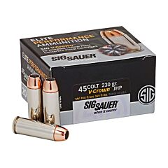 Sig Sauer Elite Performance 45 Colt 230 Grain V-Crown Jacketed Hollow Point 20 Rounds