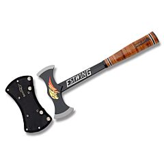 Estwing Black Eagle Stacked Leather Handle Double Bit Axe - Black Finish