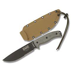 ESEE 6S Black Blade Partially Serrated Gray Micarta Handle Brown Sheath