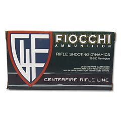Fiocchi Shooting Dynamics 22-250 Remington 55 Grain Pointed Soft Point 20 Rounds