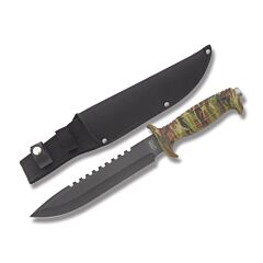 Frost Cutlery Jungle Fever Bowie V Stainless Steel Blade Rubberized Camo Handle