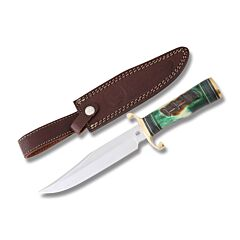 Frost Cutlery Chipaway Cutlery Running Bear II Stainless Steel Blade Torched Green Jigged Bone Handle