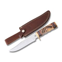 Frost Cutlery Chipaway Cutlery Two Feathers Hunter Stainless Steel Blade Torched Brown Carved Bone Handle