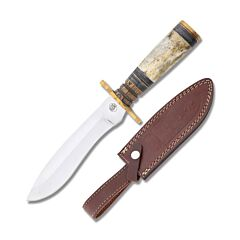 Frost Cutlery Chipaway Cutlery Red Fox Hunter Stainless Steel Blade Carved Wood Smooth Bone Handle.
