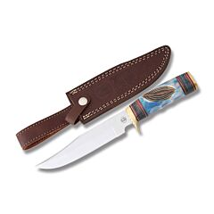 Frost Cutlery Chipaway Cutlery Running Deer Hunter Stainless Steel Blade Torched Blue Carved Bone Handle