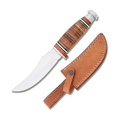 Frost Cutlery Trophy Stag Skinner Stainless Steel Blade Stacked Leather Handle