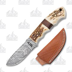 Frost Cutlery Valley Forge Damascus Stag Rosewood Skinner
