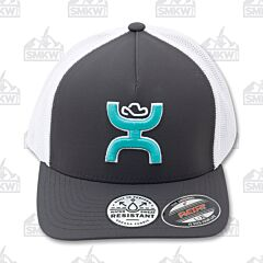 Hooey Coach Gray White Turquoise Logo Hat L/XL