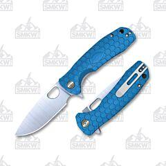 Honey Badger Drop Point Medium Blue Flipper Linerlock