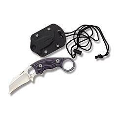 """Hogue Knives EX-F03 with Purple G-Mascus G-10 Handles and Stonewash Coated 154CM Stainless Steel 2.25""""  Hawkbill Plain Edge Blade with Molded Nylon Neck Knife Sheath Combo Model 35328"""