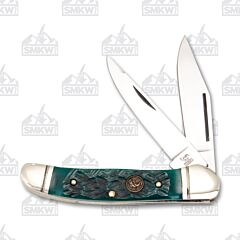 Hen and Rooster Antique Green Jigged Bone Copperhead Stainless Steel Blades