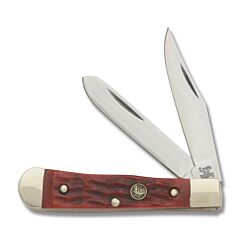 "Hen and  Rooster Baby Trapper 2.375"" with Red Jigged Bone Handle and Stainless Steel Blades Model 422-RJB"