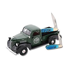 Hen and Rooster Truck and Barlow Set with Blue Jigged Bone Handle and Stainless Steel Blades