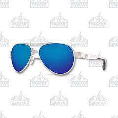 Costa Loreto Aviator Style Sunglasses Palladium Silver Metal Frame Blue Mirror Polarized Plastic Lenses