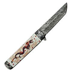 """Master Cutlery Master Collection Spring Assisted Folder with Dragon Graphic White Aluminum Handle and Damascus Overlay 3CR13 Stainless Steel 3.625"""" Plain Edge Tanto Blade Model MC-A049WH"""
