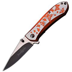 Femme Fatale Butterfly Spring Assisted Knife with Silver Aluminum Handle and Satin Finish Stainless Steel