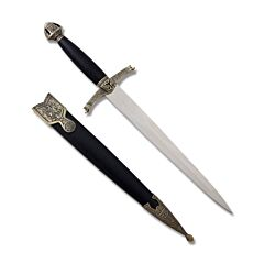 """Master Cutlery Medieval Lancelot Short Sword with Black Nylon Fiber Handle with Zinc Alloy Guard and Pommel and 9.6"""" Polished 440C Stainless Steel Plain Edge Blade Model HK-3419"""