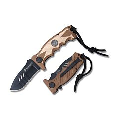 """Master Cutlery MTech U.S. Marine Corps Spring Assisted Folding Knife with Tan and Gold Anodized Aluminum Handle and Black Coated 440 Stainless Steel 3.35"""" Drop Point Compress Blade Model M-A1041TN"""