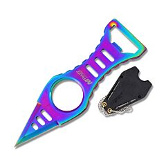Master Cutlery MTech USA Neck Knife with Rainbow Anodized Stainless Steel Dagger Plain Edge Blade Model MT-20-27RB