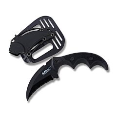 "Master Cutlery Fixed Blade Karambit with Black Textured G-10 Handle and Black Coated Stainless Steel 2"" Fully Serrated Karambit Blade Model MT-20-63-BK"