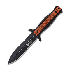 """Master Cutlery MTech USA Fixed Blade Knife with Black Plastic and Brown Pakkawood Handle with Stonewash Finish Stainless Steel 4.8"""" Dagger Plain Edge Blade Model MT-20-74PW"""