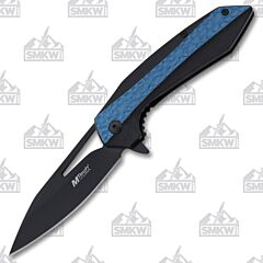 MTech USA Blue and Black Assisted Folder 3Cr13 Stainless Steel Blade Black and Blue Aluminum Handle