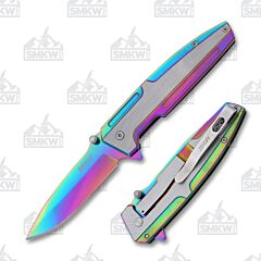MTech USA Spring Assisted Knife Rainbow Tinite Stainless Steel Blade and Handle