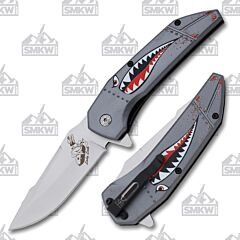 MTech Grey Lady Luck Bomber Assisted Folder 3Cr13 Stainless Steel Blade Aluminum Handle Gray Aluminum Handle
