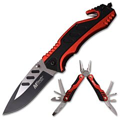 Master Cutlery MTech USA Red and Black Multitool and Knife Set Model MT-PR-006