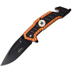 """Master Cutlery Master USA Orange Rescue Knife with Black and Orange Injection Molded Handle with Black Coated 3Cr13 Stainless Steel 3.1"""" Drop Point Blade Model MU-A056OR"""