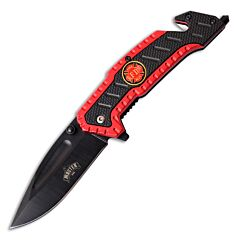 Master Cutlery Master USA Red Firefighter Rescue Knife with Red and Black Aluminum Handle and Black Coated 3Cr13 Stainless Steel Drop Point Blade Model MU-A056RD