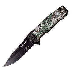 """Master Cutlery Master USA Spring Assisted Linerlock with Digital Camouflage Pattern Injection Molded ABS and Stainless Steel Handle and Black Coated 3CR13MOV Stainless Steel 3.5"""" Plain Edge Drop Point Blade Model MU-A070DG"""