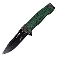 """Master Cutlery Master USA Spring Assisted Linerlock with Green Injection Molded ABS and Stainless Steel Handle and Black Coated 3CR13MOV Stainless Steel 3.5"""" Plain Edge Drop Point Blade Model MU-A070GN"""