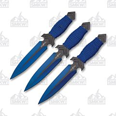 Perfect Point PP-081-3BL Thrower Set Blue 440 Blade Cord Handle