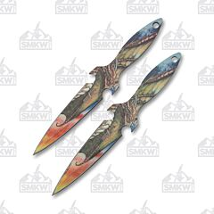 Master Cutlery Perfect Point Dragon Throwing Knives Stainless Steel Blade Printed Dragon Design