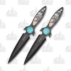 Master Cutlery Perfect Point Tribal Throwing Knives Stainless Steel Stonewash Blade Native American Design