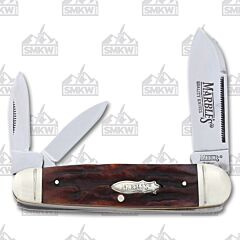 "Marble's Sleeveboard Whittler 3.50"" with Stag Bone Handles and 440A Stainless Steel Plain Edge Blades"