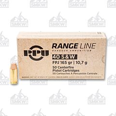 PPU Range Line 40 S&W Flat Point 165 Grain 50 Rounds