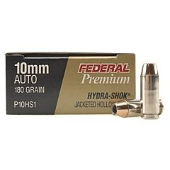 Federal Self Defense 10mm 180 Grain Hydra-Shok Jacketed Hollow Point 20 Rounds