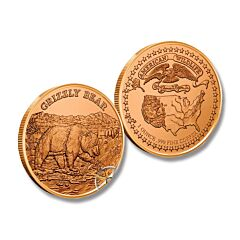 Grizzly American Wildlife Copper Round