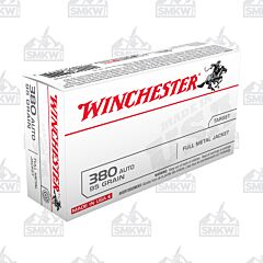 Winchester USA 380 ACP 95 Grain Full Metal Jacket 50 Rounds