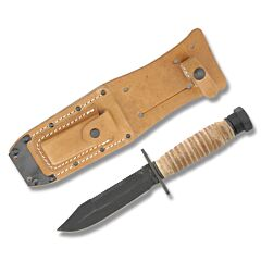 """Ontario 499 US Military Issue Survival Knife with Stacked Leather Handle and Zinc Phosphate Coated 1095 Carbon Steel 5"""" Clip Point Plain Edge Blade with Brown Leather Sheath Model 499"""