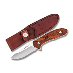 "Remington Heritage Series Fixed Blade with Textured Wood Handles and 420 J2 Stainless Steel 3-1/4"" Drop Point Plain Edge Blades Model R1000039"
