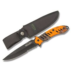 Remington F.A.S.T. Fixed Blade Black 440 Partially Serrated Blade Blaze Orange Mossy Oak Handle