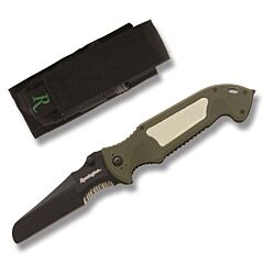 Remington Escape Linerlock with Green Composition Handles and Black Coated 440C Stainless Steel Sheepsfoot Partially Serrated Edge Blades Model 19849