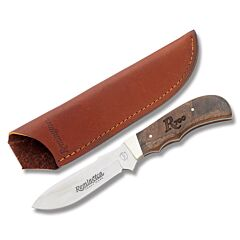 """Remington 700 Series Big Game Drop Point Hunter with Wood Handles and Stainless Steel 3.872"""" Drop Point Plain Edge Blade and Leather Belt Sheath Model 19981"""