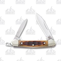 Rough Ryder Amber Jigged Bone Mini Keychain Canoe