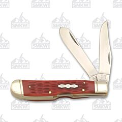 Rough Ryder Red Jigged Bone Trapper Lockback