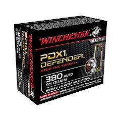 Winchester PDXI Defender 380 ACP 95 Grain Bonded Jacketed Hollow Point 20 Rounds