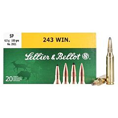 Sellier & Bellot 243 Winchester 100 Grain Soft Point 20 Rounds